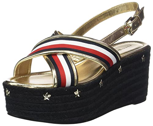 Corporate Ribbon Flatform Sandal, Alpargata para Mujer, Multicolor (RWB 020), 40 EU Tommy Hilfiger