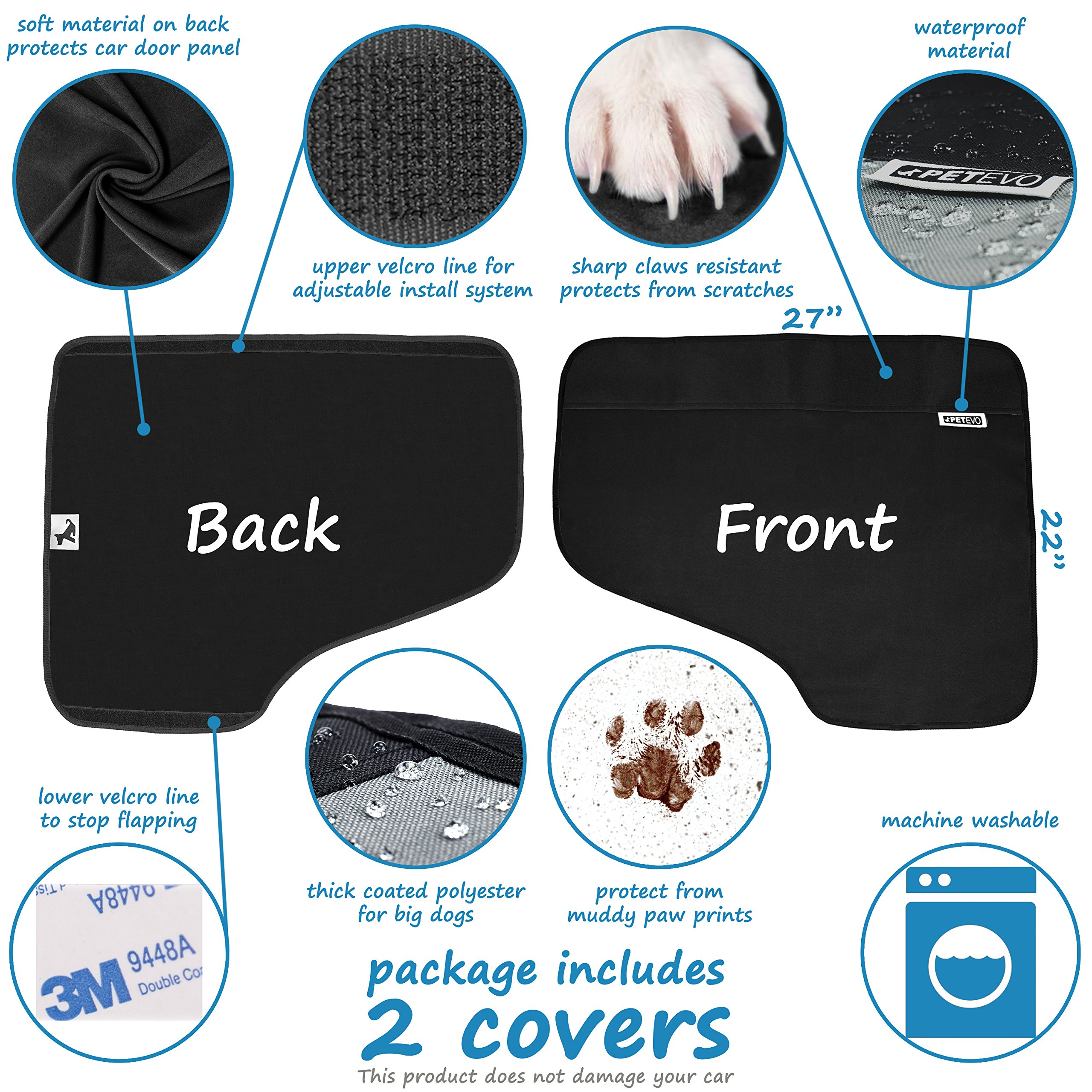 Pet Car Door Protector for Dogs   Interior Cover Guard Vehicle Back Door Protection from Pets Scratch Drooling Nails Large Safe No Slip Velcro Stick for Side Doors PetEvo by PetEvo (Image #4)