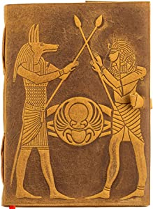 Urban Leather Book - God of the Dead - Egyptian Kings Pharaoh and Anubis - Book of Shadows & Magic Spells - Art Sketchbook Drawing Scrapbook, Writing Notebook, 5x7 inches Unlined