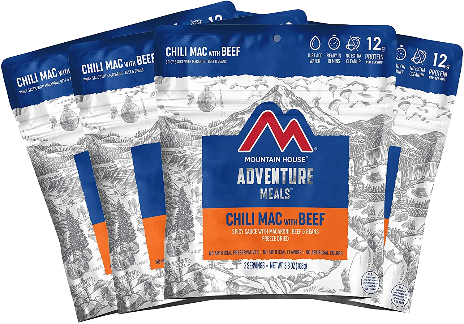 Mountain House Chili Mac with Beef | Freeze Dried Backpacking & Camping Food | 4-Pack