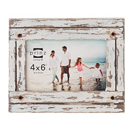 Amazoncom Prinz Homestead Wood Frame 4 By 6 Inch Distressed White