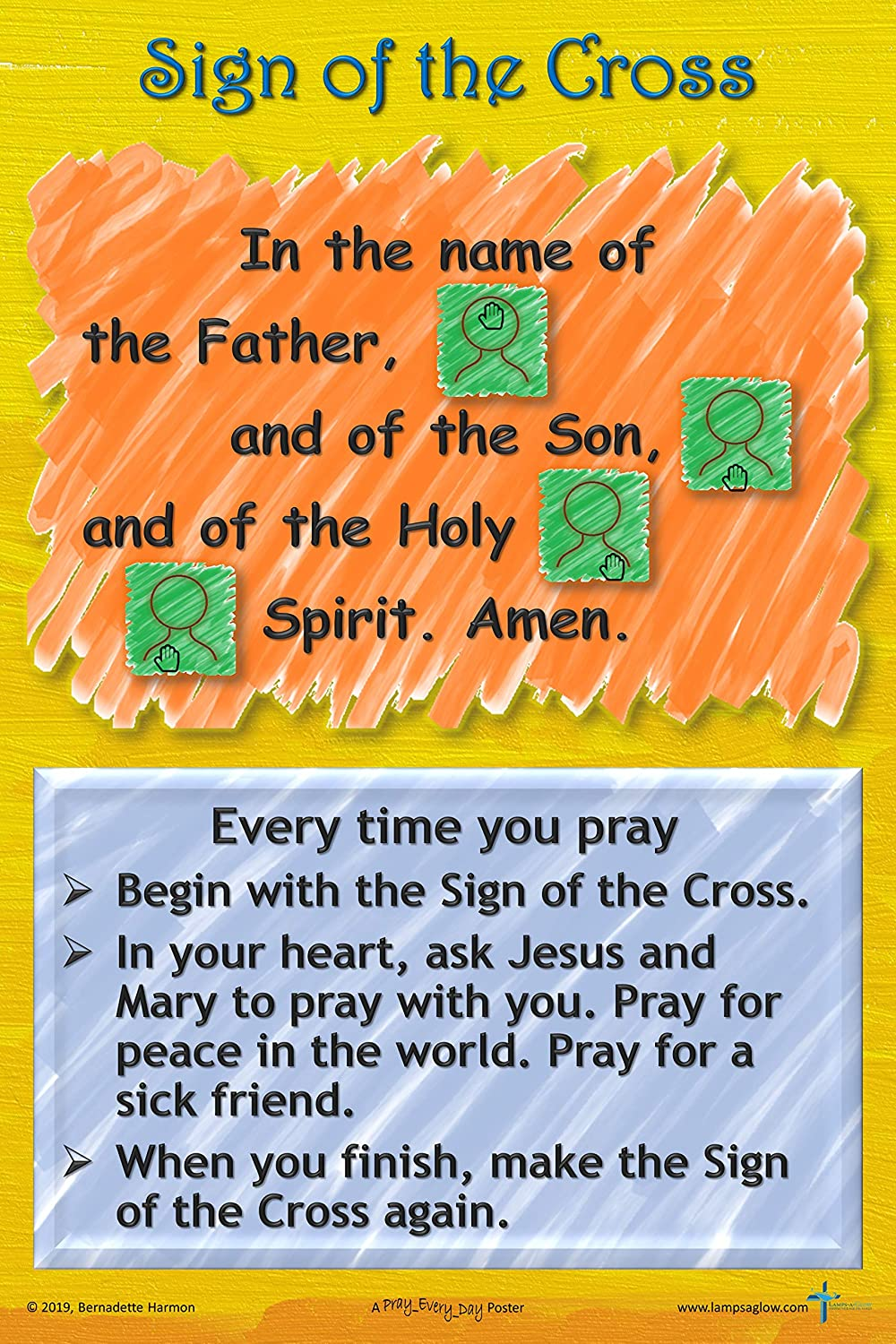 Prayer Posters Classroom Posters 12 x 18 Our Father Set of 3 Hail Mary Sign of The Cross