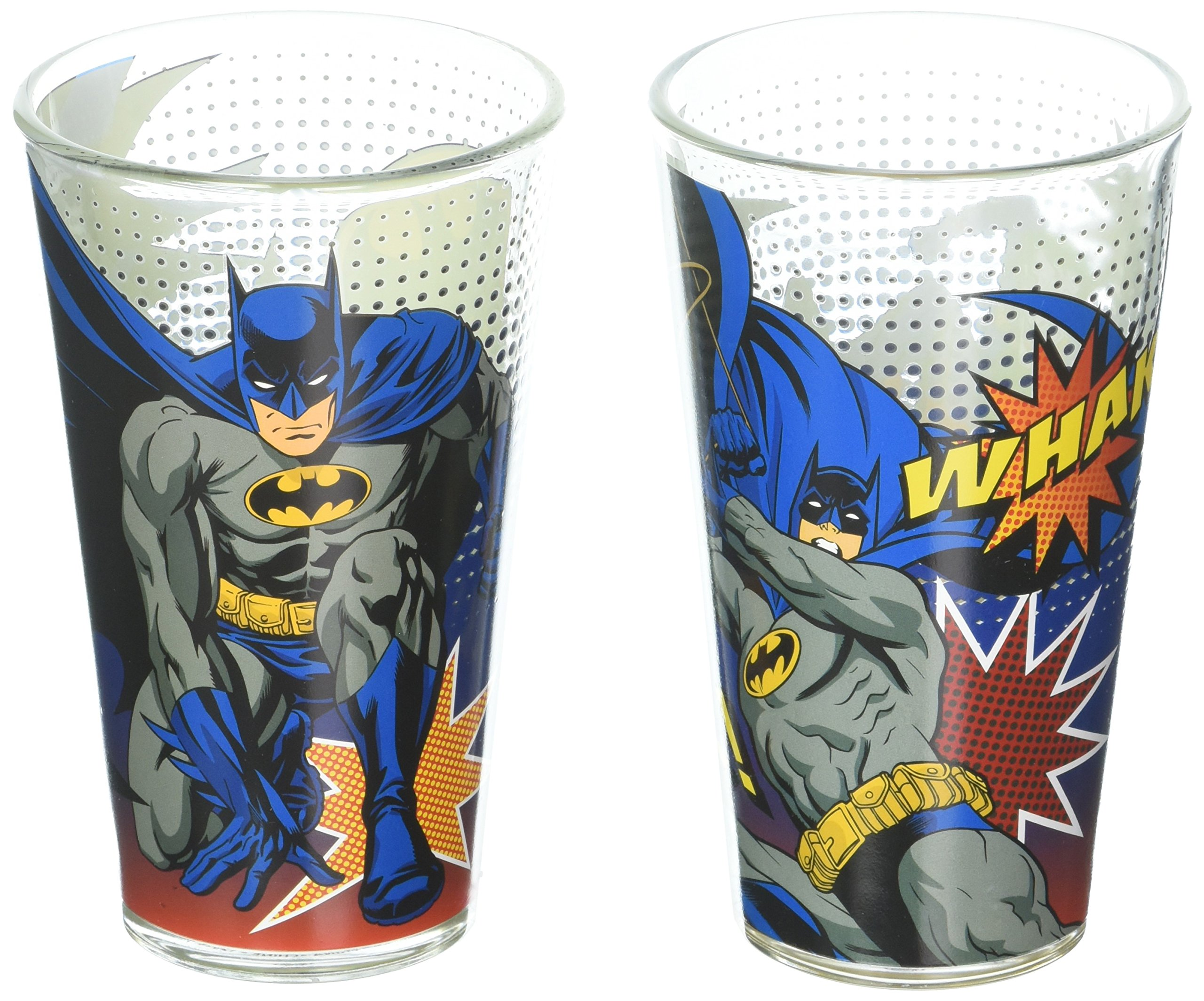 Zak Designs BATX-B080 Batman Comics Glass Tumbler 2 Piece Window box, 16 oz, Multicolor