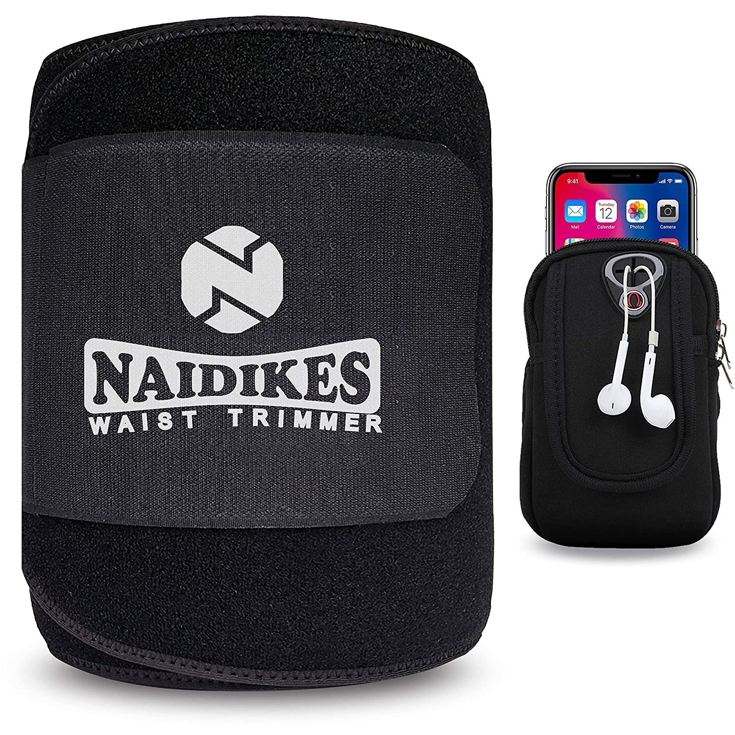 NAIDIKES Waist Trainer Belt for Men Women, Waist Trimmer Belt, Adjustable Lumbar Support for Running Fitness Workout Low Back Support and Pain Relief Includes Extra Arm Bag