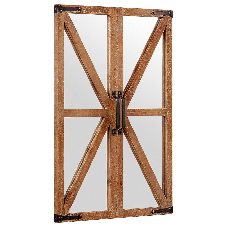 Stone /& Beam Rustic Wood and Iron Barn Door Mirror Natural 30H P165141 30H
