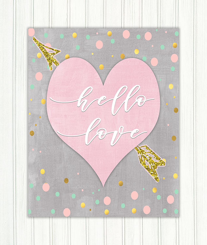 Nursery Heart Art 8 x 10 Inches Unframed Love Print