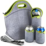 Tabkoe Insulated Neoprene Lunch Bag Set with Tote, Bottle Sleeve, 2 Can Insulators & Adjustable Crossbody Shoulder Strap | Washable, Reusable, Stretchy, Extra Large Travel Lunch box (Green Gray)