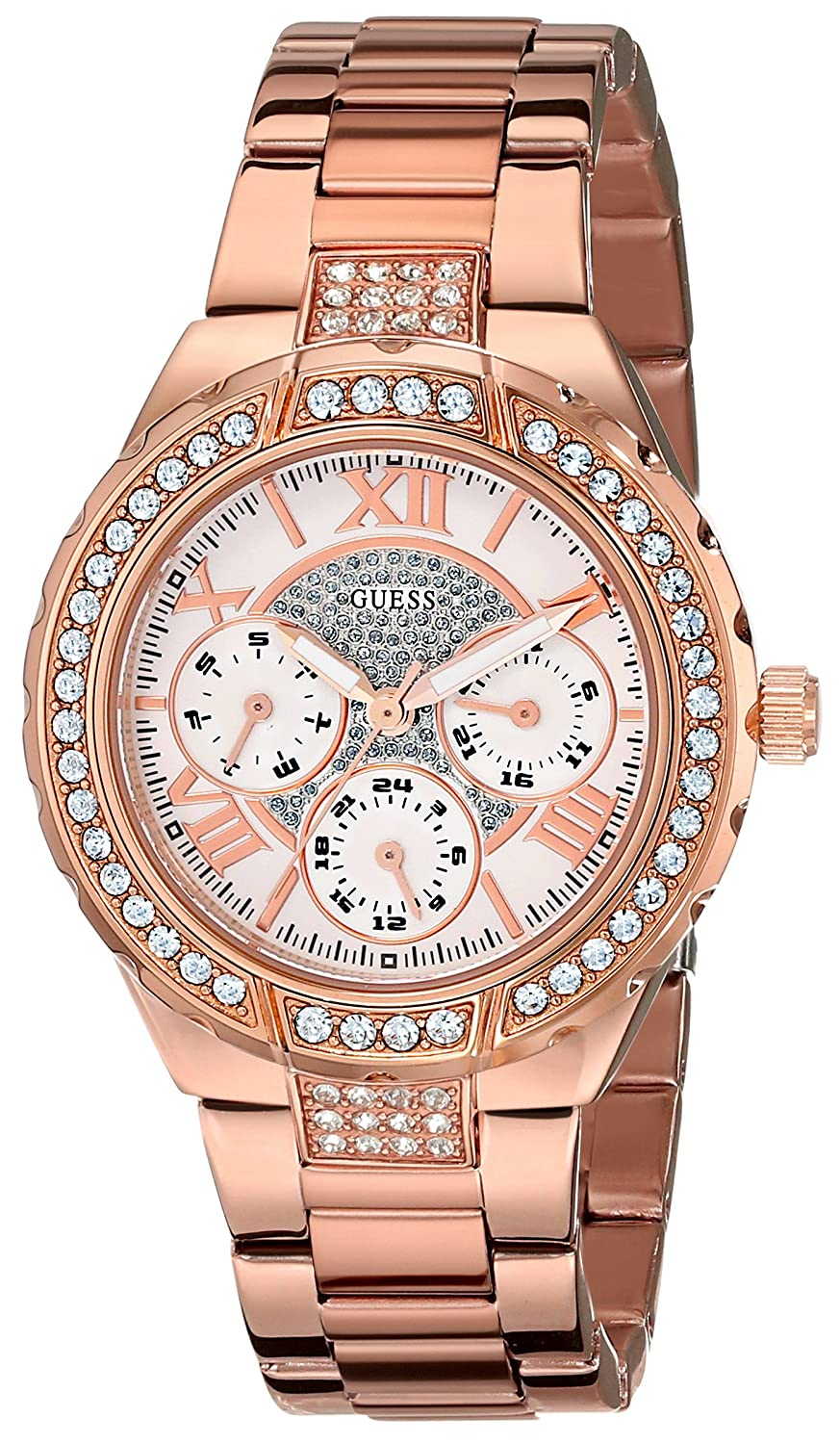 GUESS Women s U0111L3 Sparkling Hi-Energy Mid-Size Rose Gold-Tone Watch