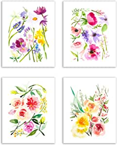 Floral Watercolor Pastel Flower Art Prints Set Of Four 8x10 Photos Of Daffodils Periwinkle Peonies Dahlias Hyacinth Feverfew And Lily Of The Valley Posters Prints Amazon Com