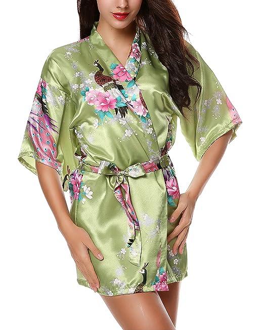 Avidlove Pijama lencería kimono corto de satén de estampado floral para Mujer, ...