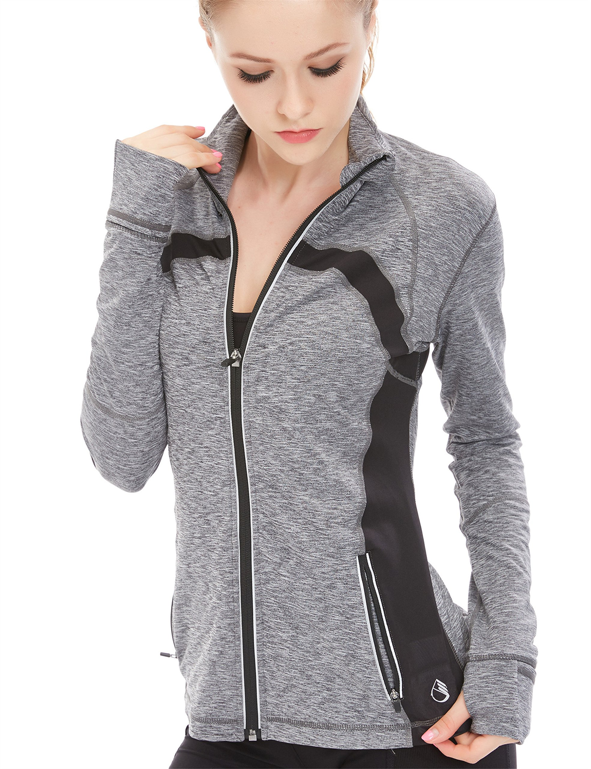 icyzone Women's Stretch Running Workout Yoga Full Zip Jacket with Thumb Holes (S, Gray Melange)