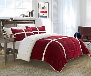 Chic Home 2 Piece Chloe Sherpa Comforter Set, Twin X-Long, Red