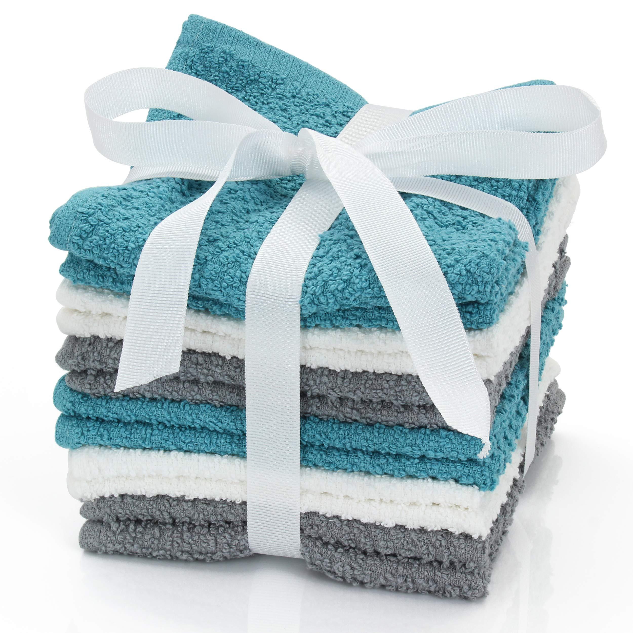 HomeCrate Assorted 100% Cotton Super Soft Washcloths, 12 Piece Set, 12'' x 12'' - White