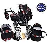 Classic 3-in-1 Travel System with 4 STATIC (FIXED) WHEELS incl. Baby Pram, Car Seat, Pushchair & Accessories, Black & Small Flowers