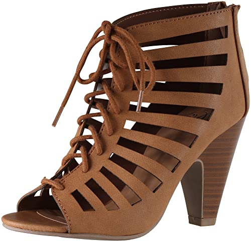 Amazon.com | Delicious Women's Richelle Strappy Lace up Chunky Heels Pumps  | Pumps