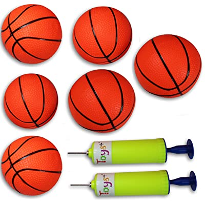 Toys+ 10 Pack! Inflatable Mini Basketballs Includes Pump and Needle Magic Shot Pro Mini Hoop Basketballs (6 Pack): Toys & Games