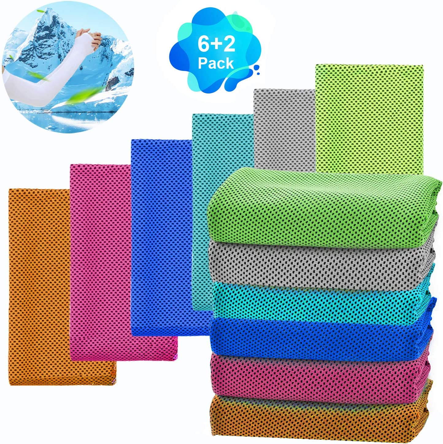 VDTG 6 Packs Cooling Towel Yoga Towel 2pcs Cooling Towel, ice Towel, Soft and Breathable Cool Towel, Microfiber Towel, Sports Towel, Yoga Towel, Running Towel, Fitness Towel, Exercise Towel