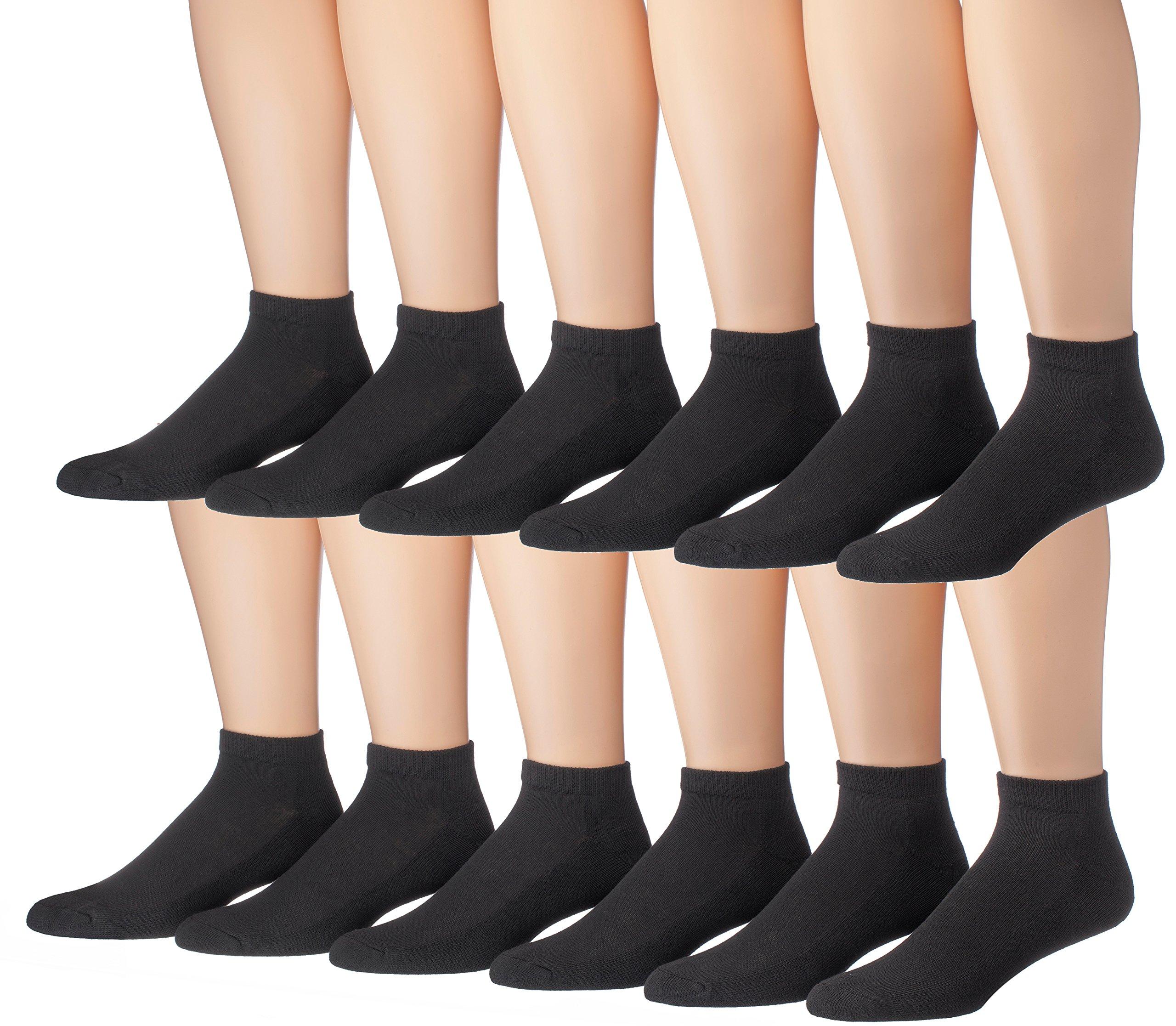James Fiallo Men's 12-Pairs Low Cut Athletic Socks, (Sock size 10-13) Fits shoe size 6-12, 2902-12
