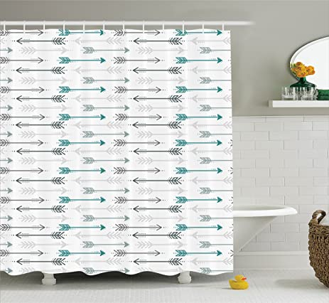 Teal Decor Shower Curtain By Ambesonne, Retro Arrow Pattern In Horizontal  Line Heading To Opposite