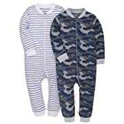 SHENGWEN Baby Footless Striped Pajamas 2-Pack Boys Girls 100% Cotton Sleep and Play (Camouflage+Blue, 3-6m)