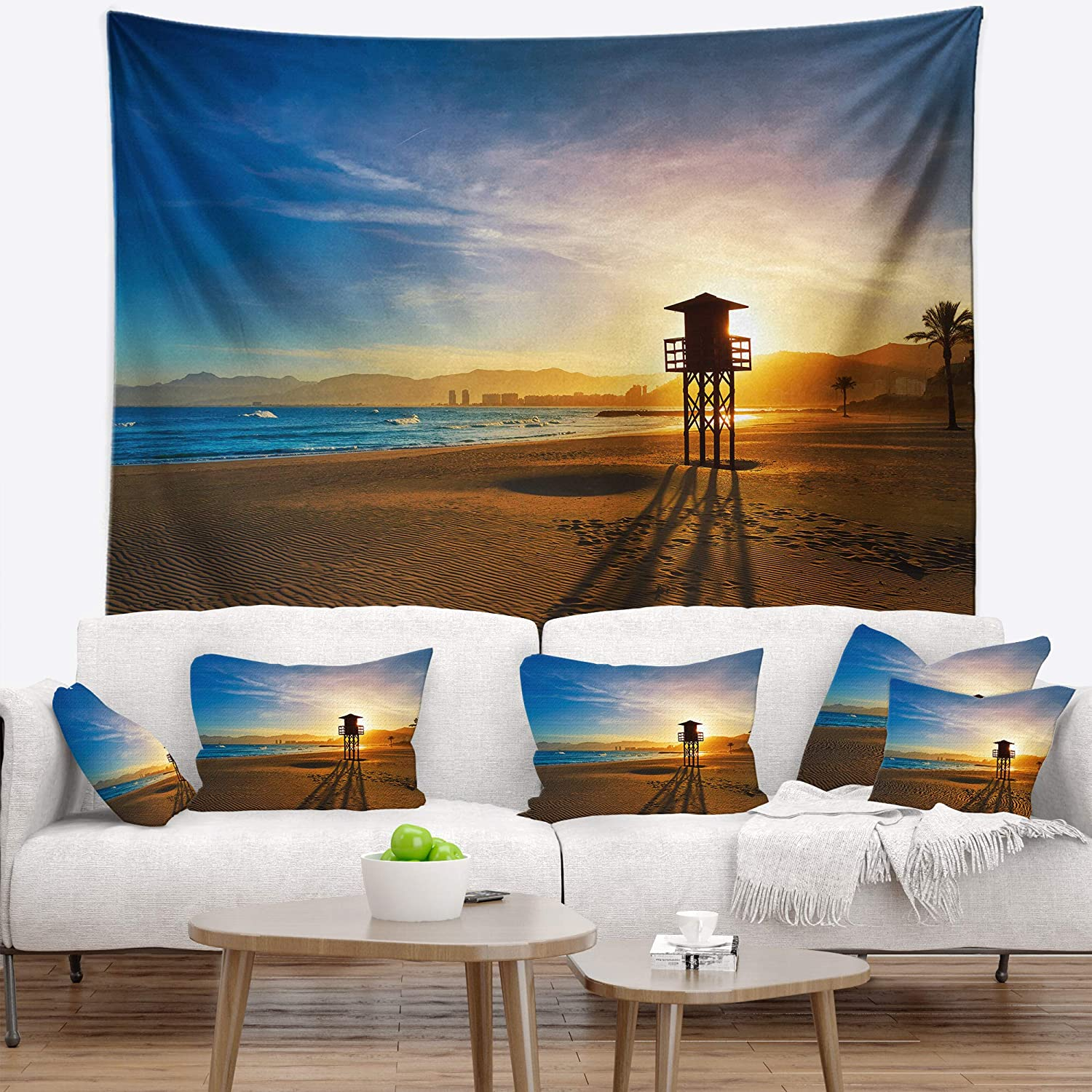 Designart TAP10464-80-68  Colorful Sunset in Valencia Modern Beach Blanket D/écor Art for Home and Office Wall Tapestry x Large Created On Lightweight Polyester Fabric x 68 in 80 in