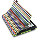 Lente Designs® Apple iPad Air 1 cover case in Stirling Stripes multicoloured blue, green & orange stripe protective case printed on canvas