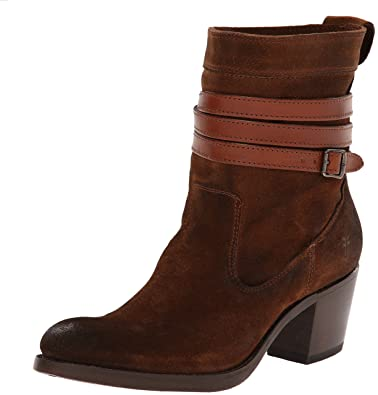 FRYE Women's Jane Strappy Short Boot, Brown Oiled Suede, ...