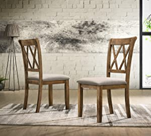 Roundhill Furniture Windvale Fabric Upholstered Dining Chair, Set of 2, Brown