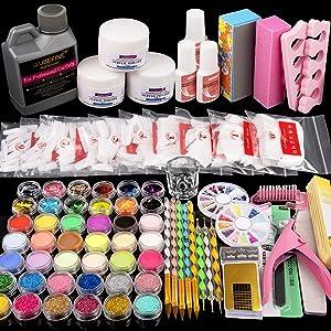 42 in 1 Acrylic Nail Kit,Nail Acrylic Powder and Liquid Set,Brush Glitter File French Tips Nail Art Decoration Tools Professional Manicure Set