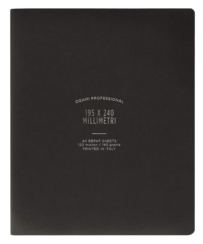 Ogami - Notebook Professional Black - Quaderno di Carta REPAP con Copertina Flessibile - Colore Nero - Pagina Bianca - Formato Regular 195 x 240 mm