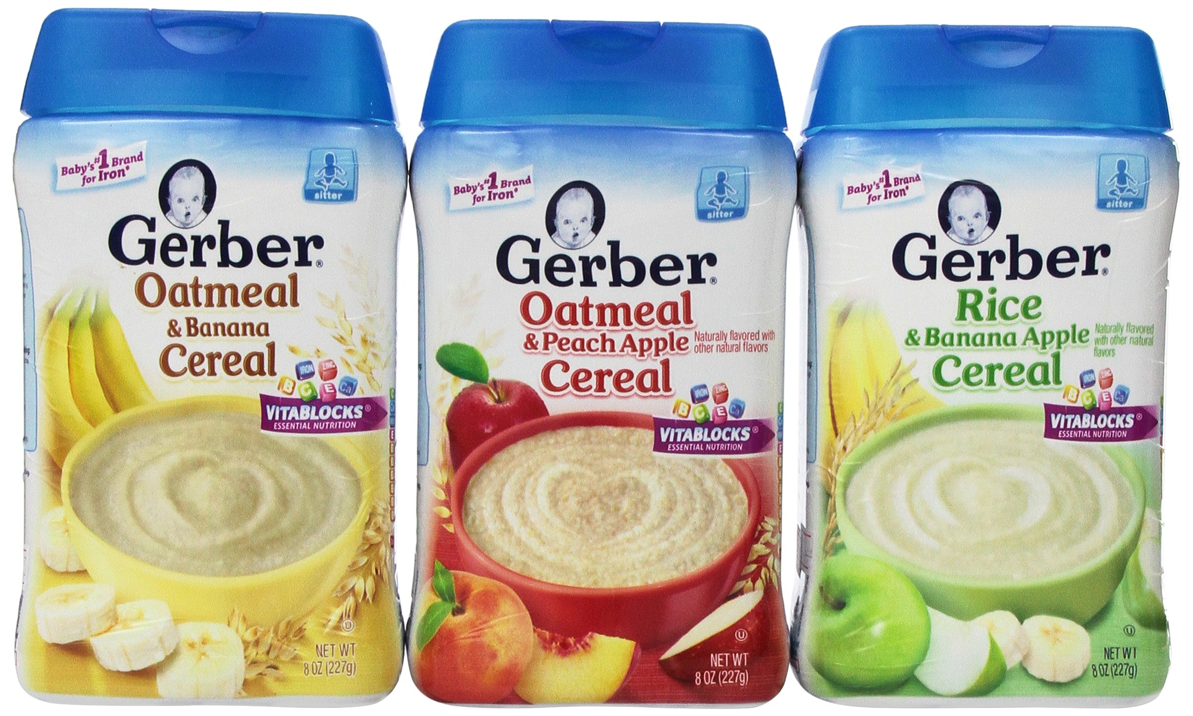 Gerber Baby Cereal 3 Flavor Variety Bundle: (1) Gerber Oatmeal & Banana Cereal, (1) Gerber Oatmeal & Peach Apple Cereal, and (1) Gerber Rice & Banana Apple Cereal, 8 Oz. Ea. (3 containers 8 Oz. Ea.) by Gerber