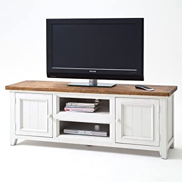 Tv Lowboard Weiss Holz Landhausstil Byron Shabby Amazon De