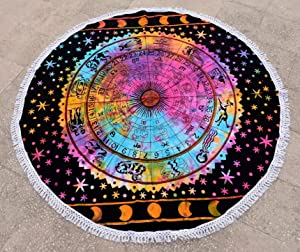 Round Tie Dye Zodiac Sign Celestial Wall Decor with Fringes Lace, Astrological Sun Moon Tapestry, Horoscope Psychedelic Wall Art, Beach Towel, Boho Picnic Throw, Gypsy Table Cloth, Yoga Mat