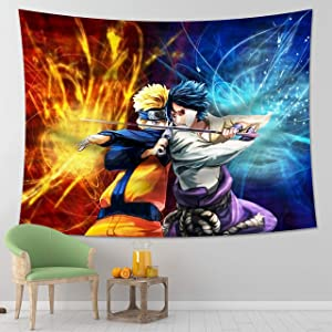 MEWE Naruto Tapestry Wall Hanging Anime Manga Tapestry Blanket for Party Bedroom Decoration 59x70in