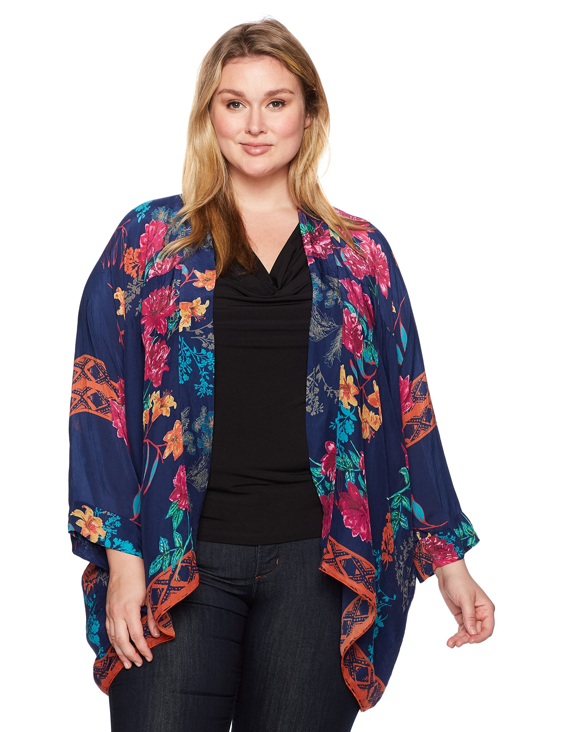 Johnny Was Women's Plus Size Wilimina Kimono, Multi/b, 1X by Johnny Was