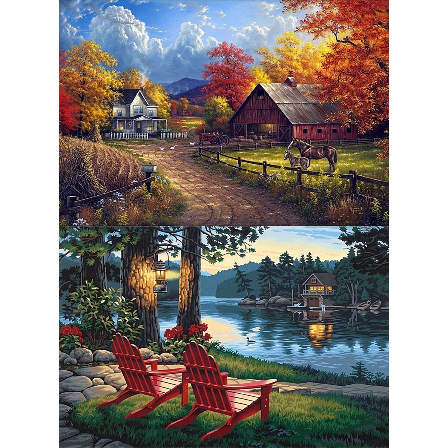 2 Packs 5D DIY Diamond Painting Set Full Drill Arts Crafts Wall Stickers For Living Room Village Farm and Village River(12X16 inches/30X40cm) Cool Bank