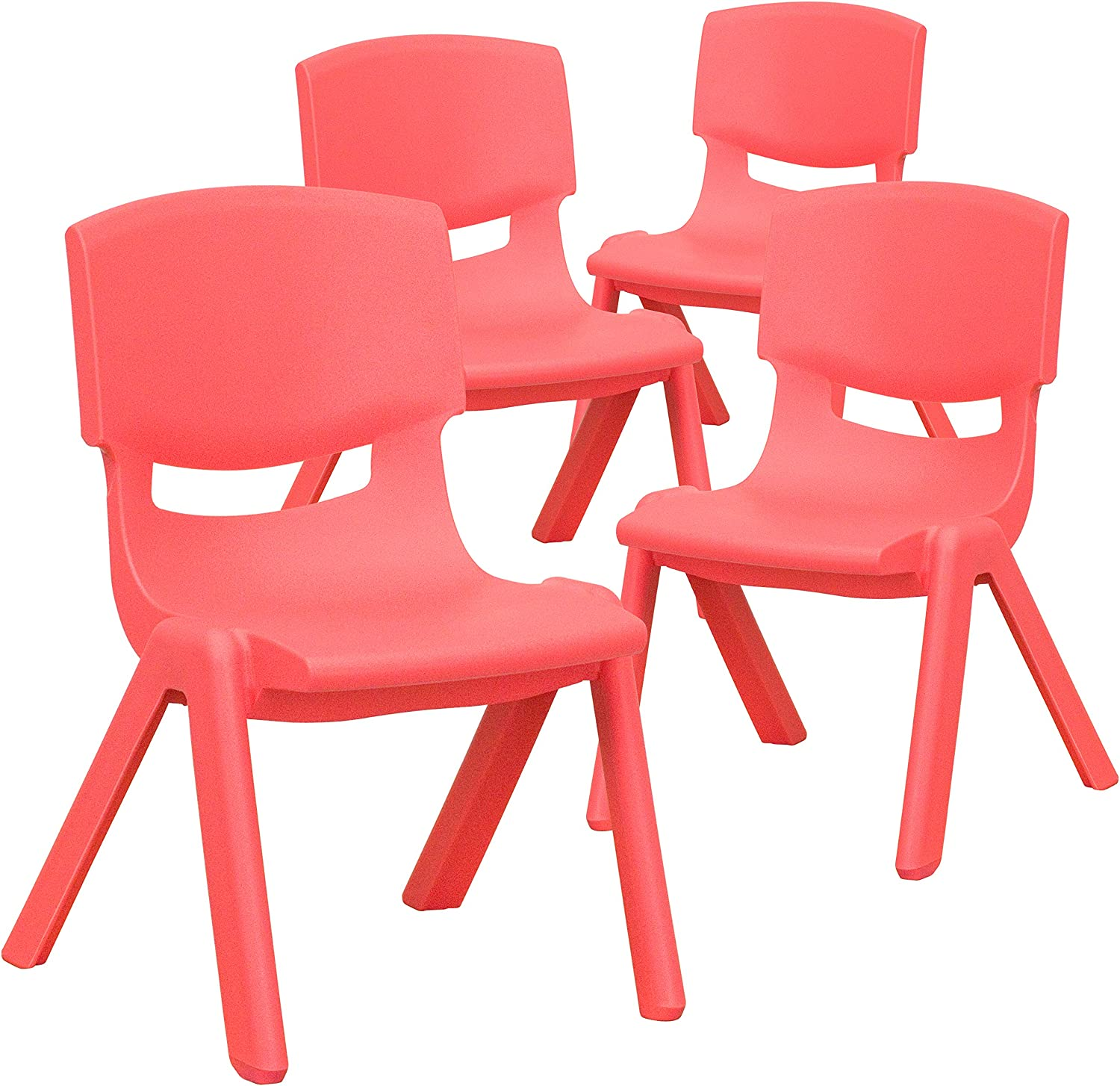 Flash Furniture 4 Pack Red Plastic Stackable School Chair with 10.5'' Seat Height