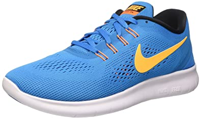 NIKE Men's Free Rn Heritage Cyan/Laser Orange-Black-Blue Spark Ankle-