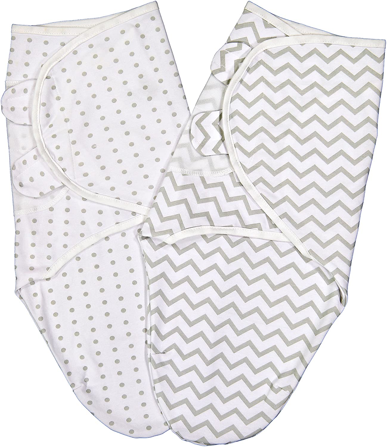 Ely's & Co Swaddle Blanket Adjustable Infant Baby Wrap Set 2 Pack (0-3 Months, Grey Chevron and Polka Dots) Ely's & Co