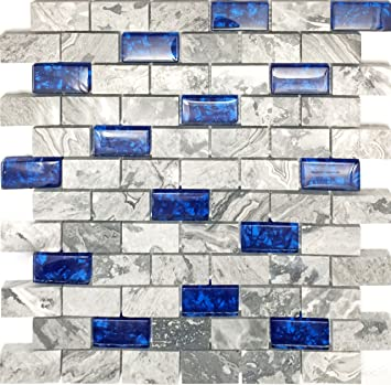 Hominter 11 Sheets Navy Blue Glass Mosaic Tile Rectangle Gray