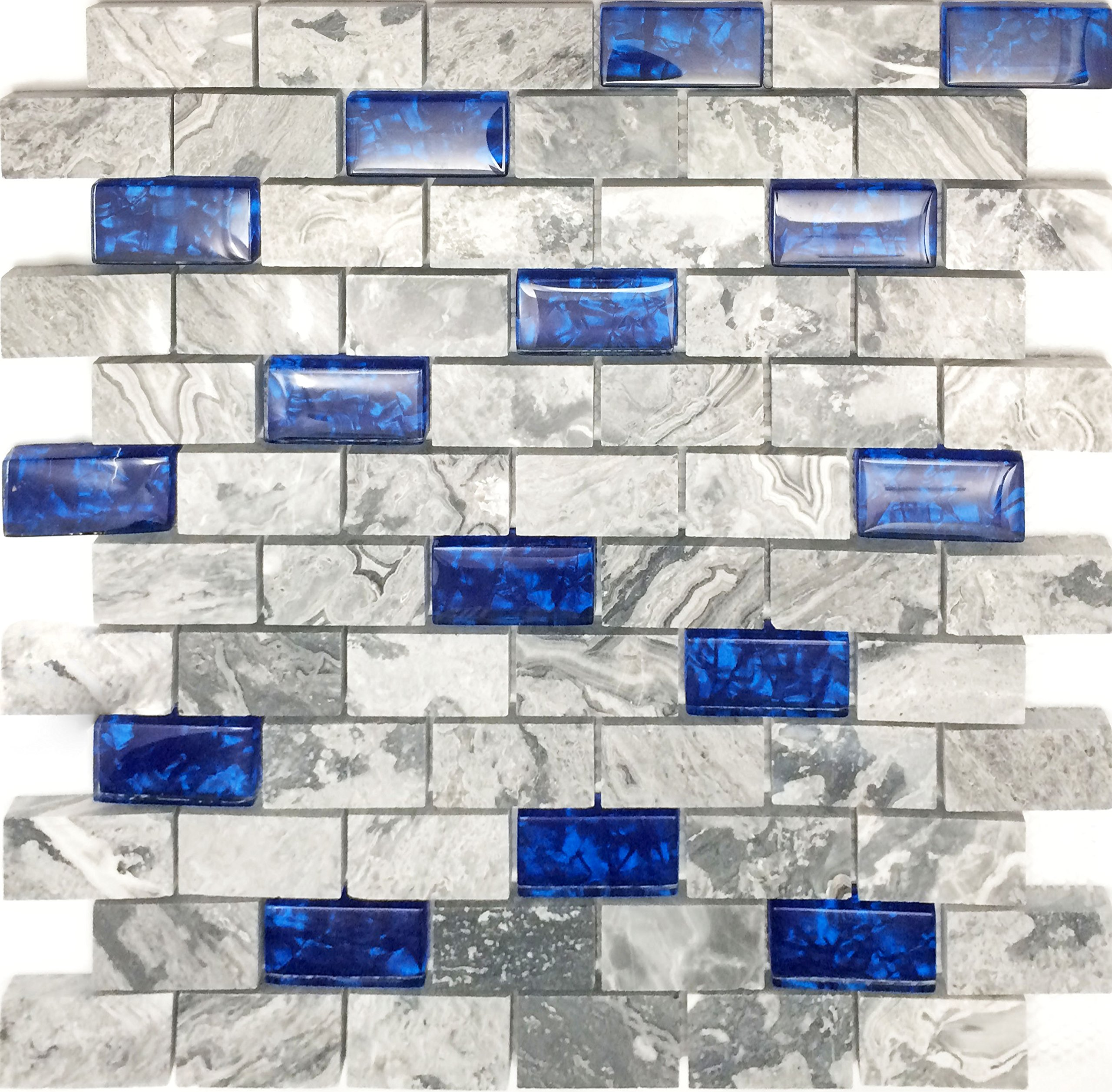 Hominter 11-Sheets Navy Blue Glass Mosaic Tile Rectangle, Gray Natural Marble 1'' x 2'' Subway Mini Brick, Wall and Floor Tiles in Bathroom and Kitchen Backsplash NB03