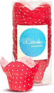Tulip Cupcake Liners Lotus Parchment Baking Cups for Muffins (100 count) (Red Polka)