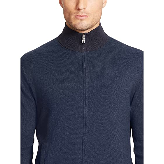 Polo Ralph Lauren Men\u0027s Blue Pima Cotton Full-zip Sweater, LARGE
