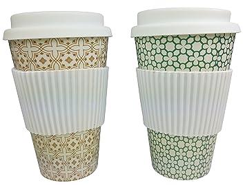 Khevga Kaffee Becher To Go Trinkbecher Mit Deckel Aus Bambus 2er Set