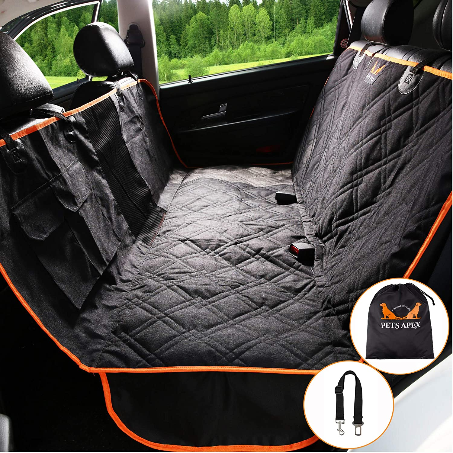 Dog Car Seat Covers – Backseat Covers for Pets – Heavy-Duty Durable Pet Hammock – Practical, Machine Washable – Mesh Window – Universally Compatible – Waterproof Design – 2 Velcro Pockets