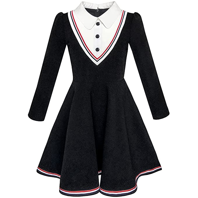 2f3015dba6 Sunny Fashion Girls Dress School White Collar Long Sleeve Striped Size 4  Years