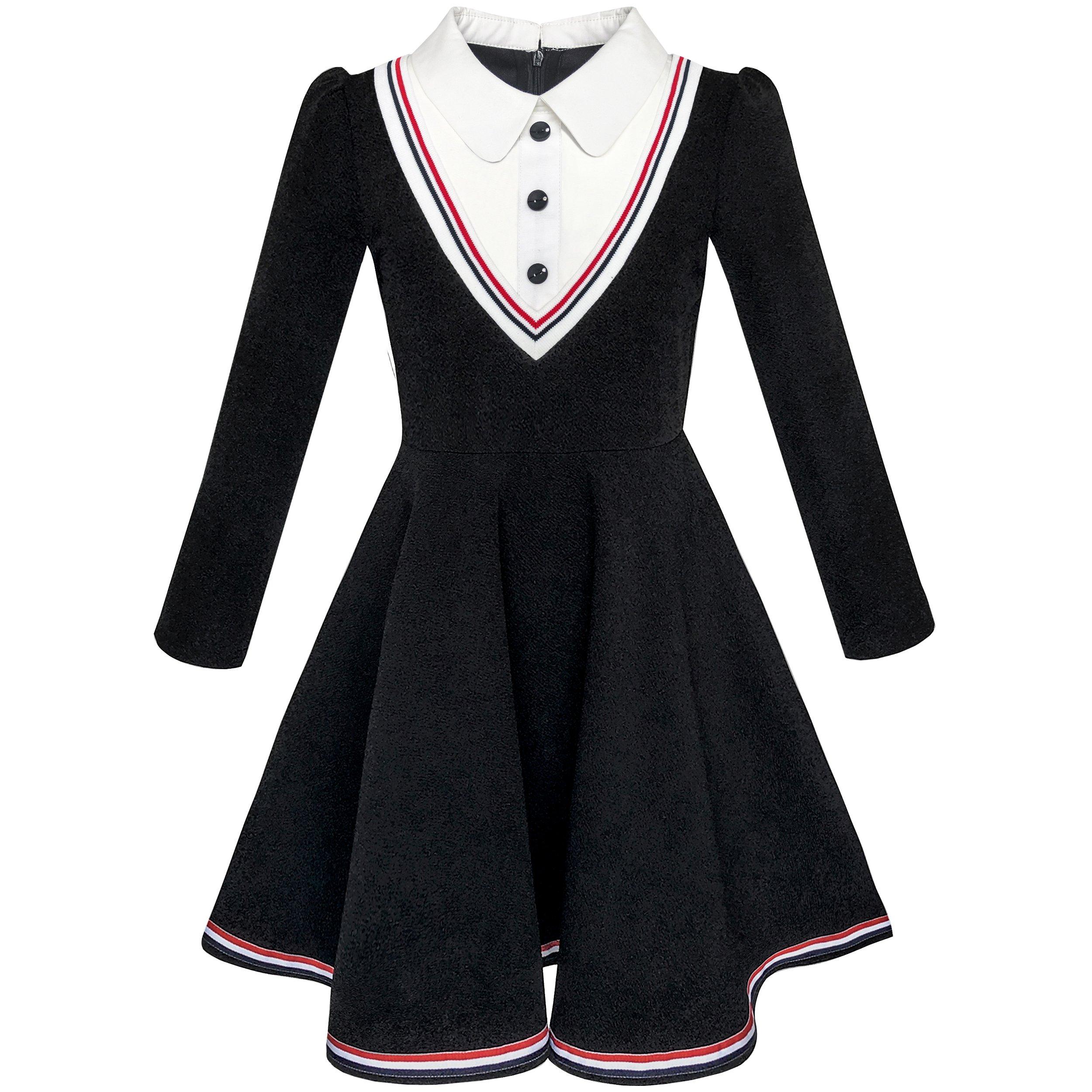 Sunny Fashion KM92 Girls Dress School White Collar Long Sleeve Striped Size 5
