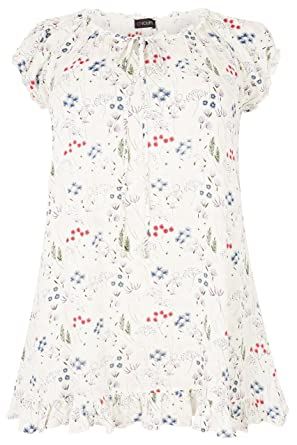 09f6b5f86dbad Yours Clothing Women s Plus Size Ivory   Multi Floral Print Gypsy Top Size  ...