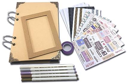 Scrapbook Álbum de fotos para personalizar 80 páginas A5 en negro y accesorios para creación de ...