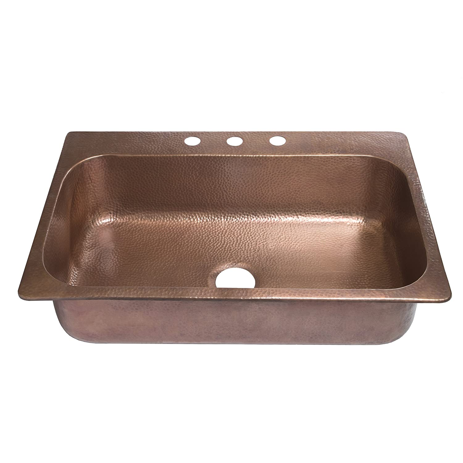 Sinkology SK101-33AC Angelico Drop-In 33-inch 3-Hole Single Bowl Copper Kitchen Sink
